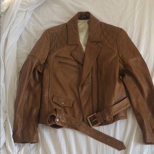 Billy Reid tan/brown leather jacket S